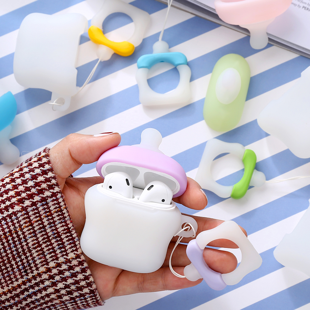 Image 3 - Applicable to Airpods1 bottle silicone case AirPods2 skin protection cover Bluetooth wireless headset box pacifier-in Earphone Accessories from Consumer Electronics