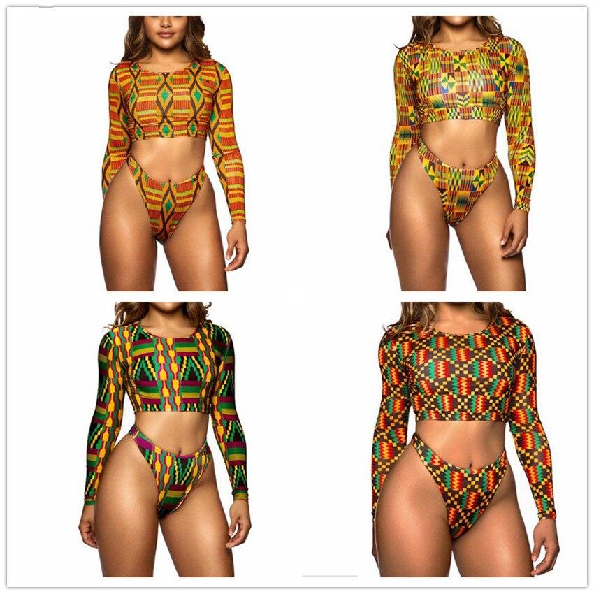 Bkning Afrikane të printuara me rroba banje, të vendosur me bikini, - Veshje sportive dhe aksesorë sportive - Foto 2