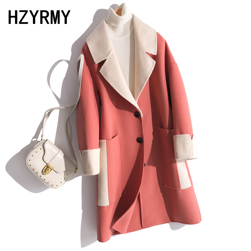 HZYRMY Autumn New Women 39 s Cashmere Woolen Coat Loose V Neck Splice Long Winter Fashion Double Sided Wool Fabric Warm Coat Female in Wool amp Blends from Women 39 s Clothing