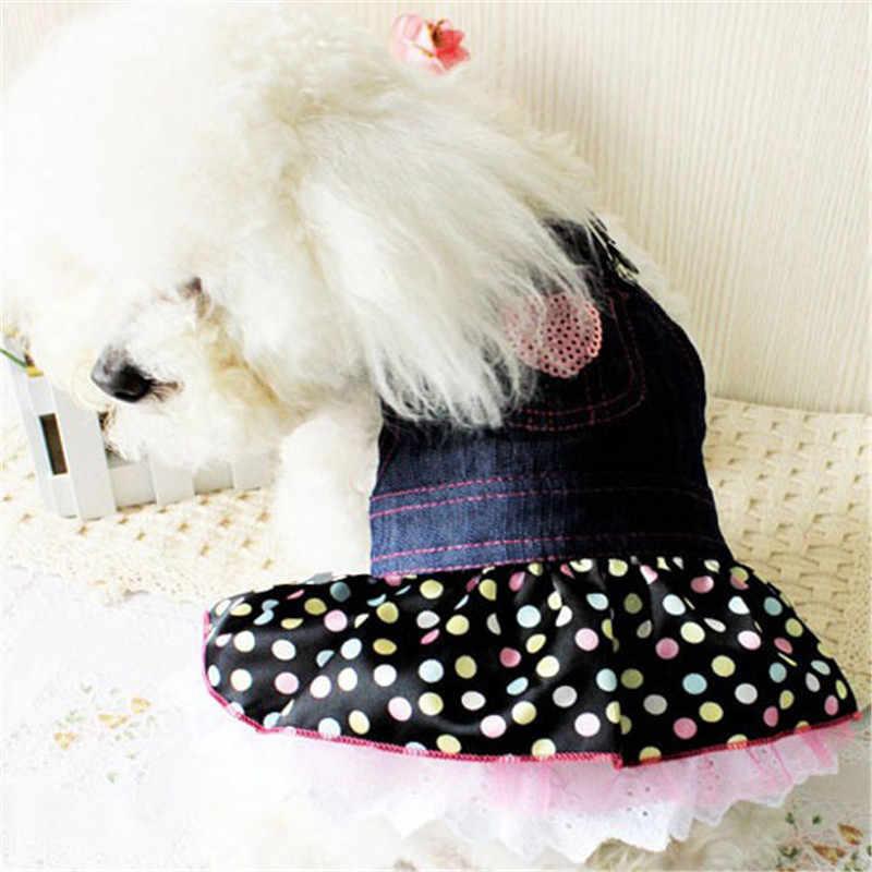 Superbonitos Vaqueros, disfraz de primavera y verano, ropa con forma de corazón para perros, vestido con Falda vaquera Yorkshire Chihuahua