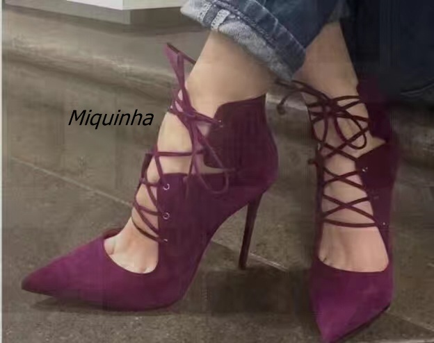Stylish Burgundy Suede Cross Strap Thin Heel Shoes Sexy Cut-out Pointy Stiletto Heel Lace Up Pumps Fashion Women Dress Shoes burgundy gray saphire blue pink women dress party career work shoes flock shallow mouth stiletto thin high heel pumps