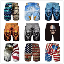 цена на Men Board Shorts Summer Fitness Beach Short Trunks Printed boardshort Loose Drawstring Casual Short homme