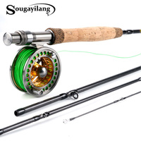 Sougayolang 2.7m Fly Rod and Fly Fhishing Reel Combo Carbon Freshwater Fishing Rod 5/6 Full Metal Fishing Reel Sets Fishing Tack