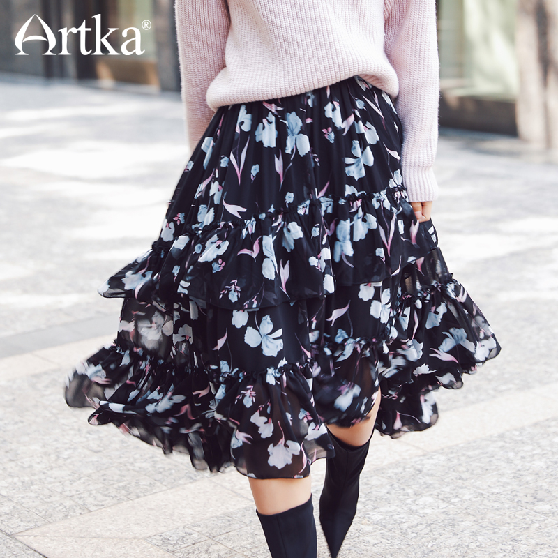 ARTKA 2018 New City Series Summer Vintage Black Print Pattern Floral Wide Hem Long Skirt JQ17015-in Skirts from Women's Clothing    2