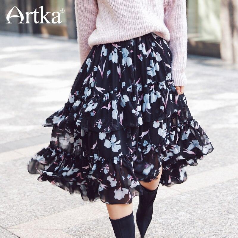 ARTKA 2018 nueva serie de la ciudad verano Vintage estampado negro patrón Floral dobladillo ancho Falda larga JQ17015-in Faldas from Ropa de mujer    2