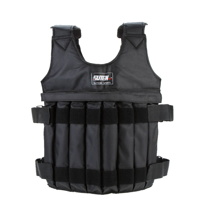 SUTEN 20kg Loading Weighted Vest For Boxing Training Equipment Adjustable Exercise Waistcoat Black Jacket Swat Sand Clothing
