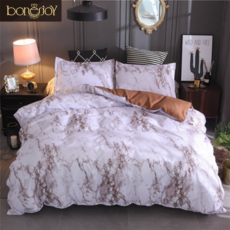Bonenjoy Queen Size Bed Set Brown Marble Printed Luxury Bedding Set King Size Bed Linen Single Duvet Cover Sets with Pillowcase Bonenjoy Queen Size Bed Set Brown Marble Printed Luxury Bedding Set King Size Bed Linen Single Duvet Cover Sets with Pillowcase