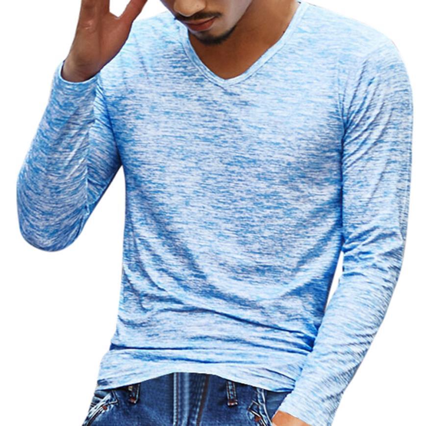 15# Мужская футболка с v-образным вырезом, футболка с длинным рукавом, хлопковая футболка для фитнеса размера плюс, Мужская Уличная футболка для спортзала - Цвет: Blue