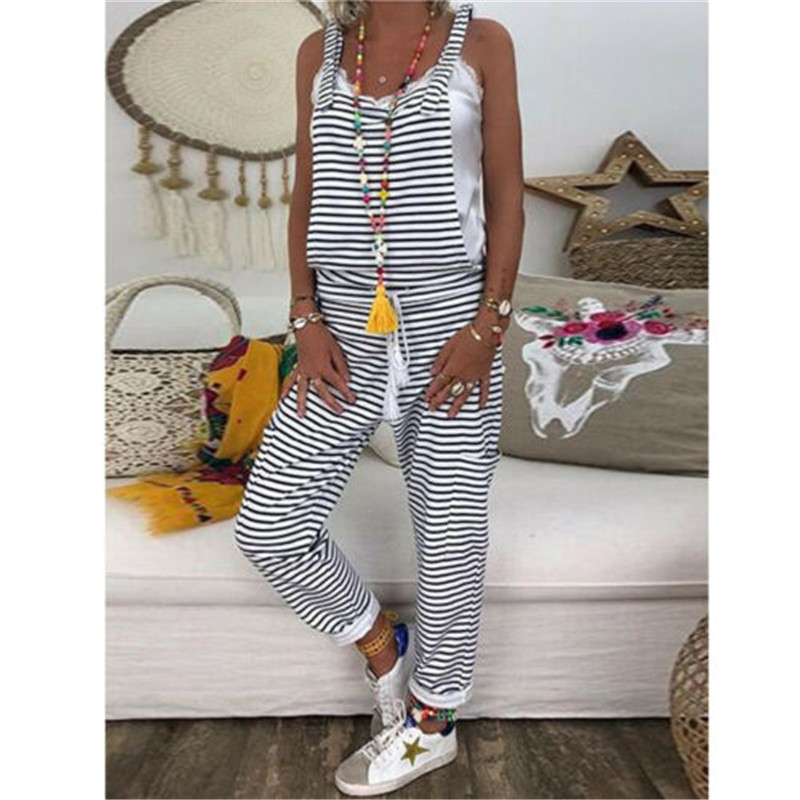 2019 Women Casual Striped Print Strappy Dungarees Vintage Plus Size Loose Party Long Harem Overalls Rompers Jumpsuits S-2XL New