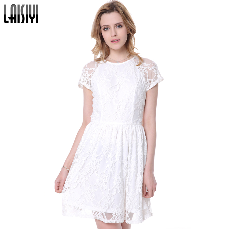 LAISIYI Free Shipping Sweet Girl Elastic Waist Embroidery Floral Women White Lace Dress DR10127