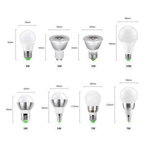 Image 2 - Bombilla de foco Led RGB de 5W, 7W, 10W, lámpara de bola con burbujas, E27, E14, GU10, AC85 265V, iluminación RGB mágica de vacaciones regulable + Control remoto