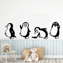 Creative  Penguin Mural Poster Removable Wall Sticker For Children Room Wallpaper Decals Bedroom Stickers vinilo pared цена 2017
