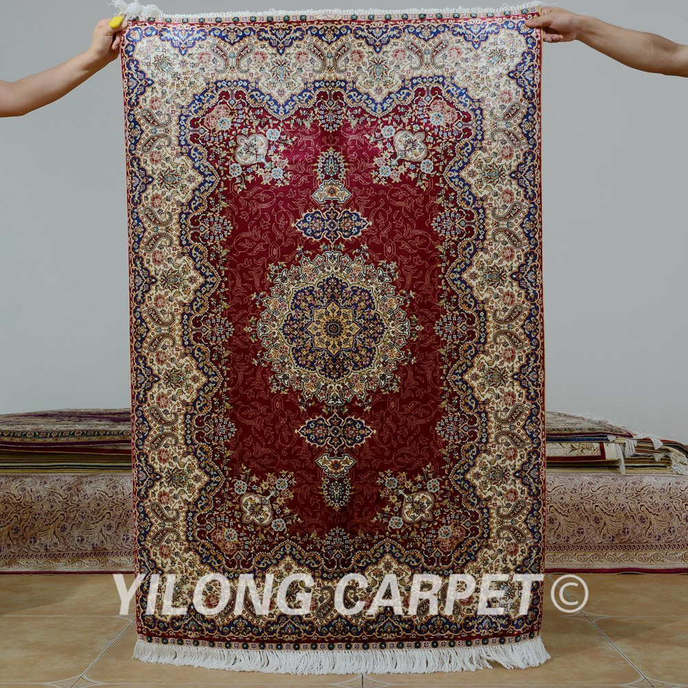Yilong 3x4.5 Antique persian silk red tabriz carpet exquisite new oriental rugs (0575)Yilong 3x4.5 Antique persian silk red tabriz carpet exquisite new oriental rugs (0575)