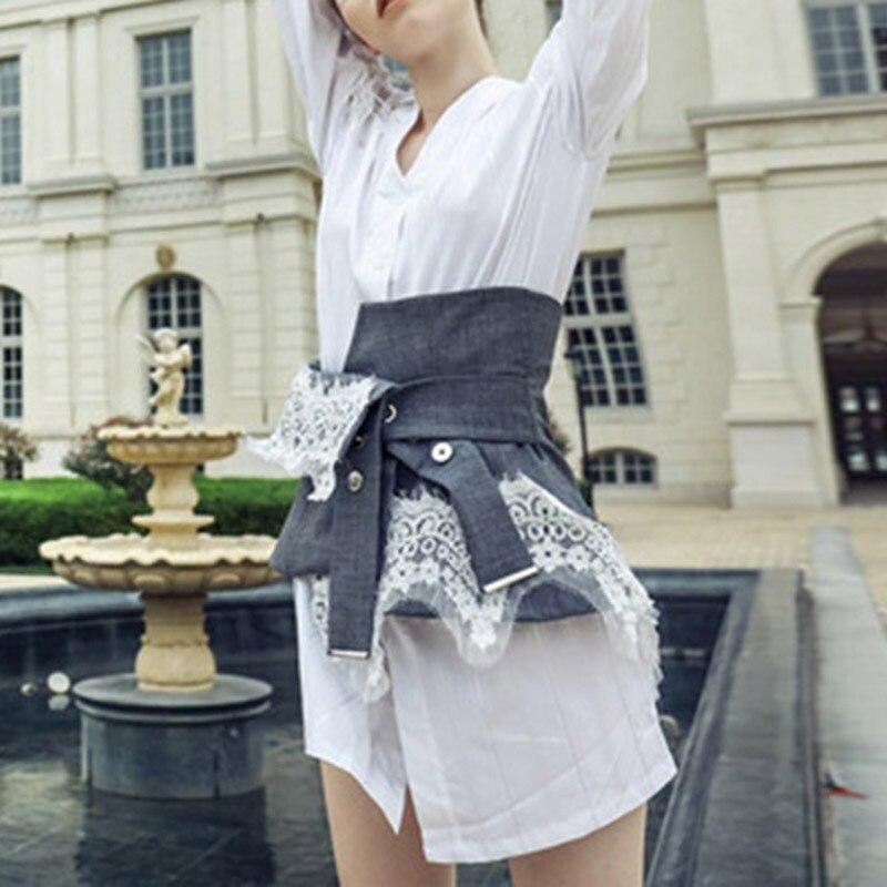 Mini Irregolare Collo Bianca Di Cintura Del White Con Dress Merletto V Femminile Cinture Estate Twotwinstyle Camicia Vestito Vestiti Modo A Rappezzatura Nuovi F6xvvq