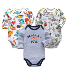 3 PCS/LOT Newborn Baby Clothing 2019 New Fashion Boys Girls Clothes 100% Cotton Bodysuit Long Sleeve Infant Jumpsuit