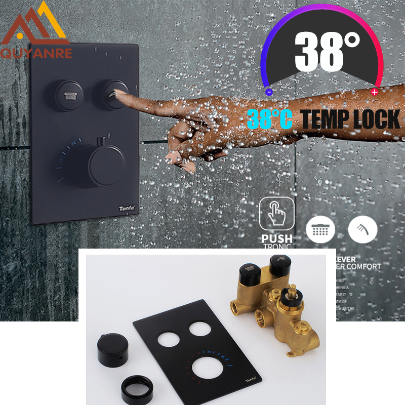 Quyanre Matte Black Chrome Thermostatic Shower Mixer Valve Shower Panel 2 way Buttons Control Switch Thermostatic