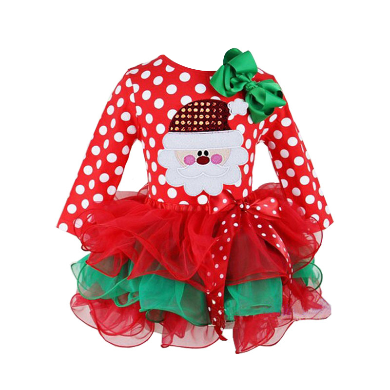 Christmas Snow Man Xmas Gift Winter Dot Cotton Red Long Sleeve Dress Girl Party Santa Tutu Dresses Baby Girls Christmas Costumes toddlers girls dots deer pleated cotton dress long sleeve dresses