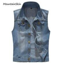Mountainskin 2017 Men's Denim Vest Retro Jean Waistcoat Male Sleeveless Jeans Jackets Cowboy Plus Size 5XL Brand Clothing LA322
