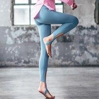 Hot Sale Stirrup Ballet Dance Leggings Solid High Waist Women Yoga Pants Skyblue Skinny Fitness Sports