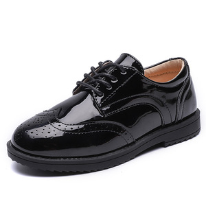 Image 4 - 2020 New Boys School Leather Shoes For Kids Student Performance Wedding Party Shoes Black Casual Flats Light Children Moccasins
