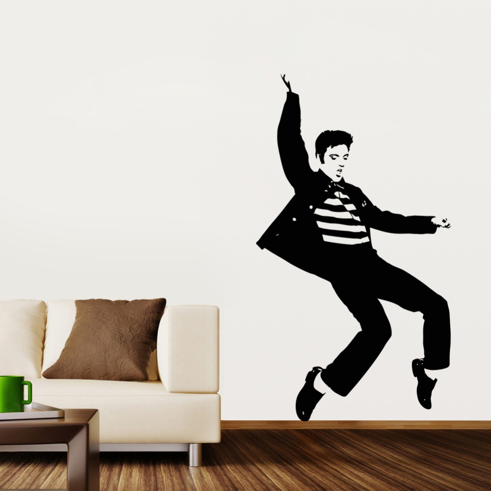 Pvc cool dance pattern elvis presley bedroom wall sticker for Cool wall art for bedroom
