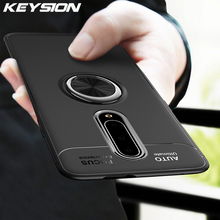 KEYSION Luxury Ring Holder Phone Case For Oneplus 7 Pro 6 Magnetic Car Stand Soft Silicone Matte Cover For 1+7 6T Case Capa