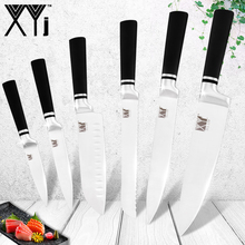 XYj Japanese Chef Kitchen Knives Stainless Steel Set Utility Santoku Knife Serrate Bread Slicing Black Handle