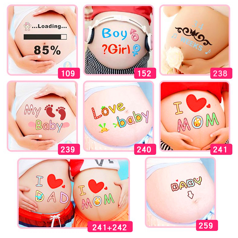 For pregnant women therapy Free shipping maternity photo props Pregnancy photographs belly painting photo <font><b>stickers</b></font> image