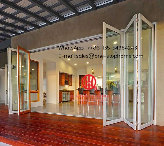Interior Kitchen Modern Soundproof Bifold Aluminum Folding Glass Door,double/triple Glazing Tempered Glass Door