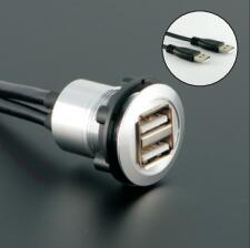 22mm panel mounting socket diameter metal 2x USB2.0 FEMALE A - MALE A 2x60cm wiring(Black or silver surface)