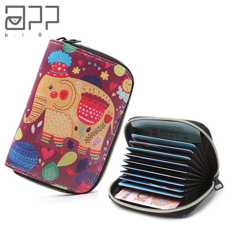 APP BLOG Cute Cartoon Elephant Girl Women Card Bags 2019Zipper Credit ID Cards Holder Case Extendable Small Wallet Coin Purse image