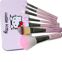7pcs/lot Hello Kitty Makeup Brushes Set for eyeshadow blusher Cosmetic Brushes brochas pinceaux kit pincel maquiagem mc Make Up