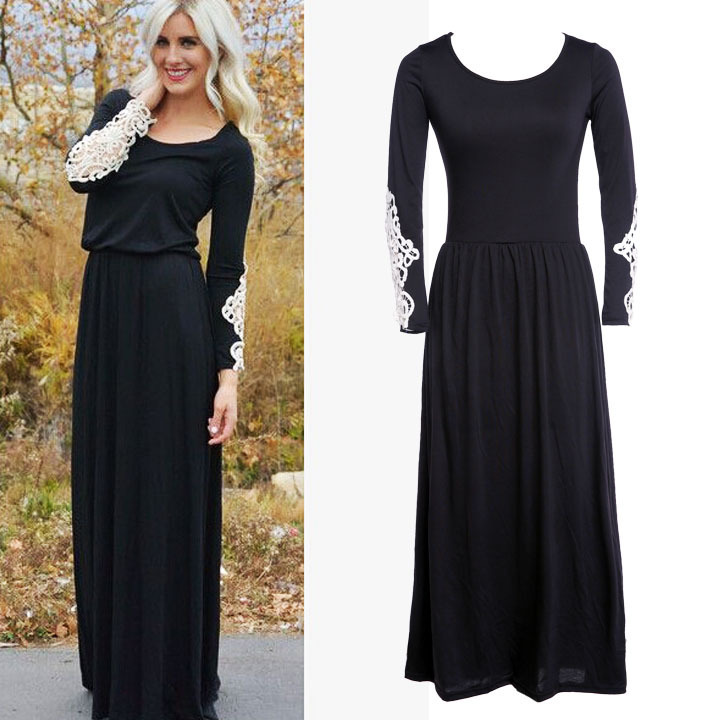 Black maxi dress outfits casual for Long sleeve casual wedding dresses