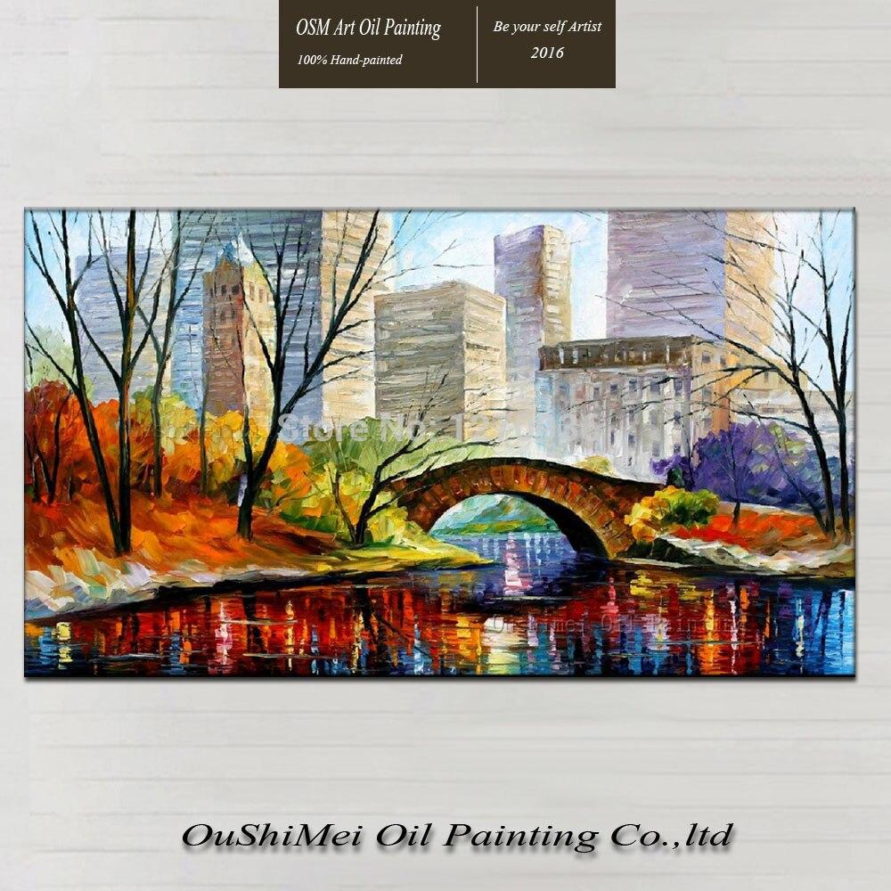 Профессиональный производитель лучшее качество ручная краска пейзаж картина маслом Нью Йорк Центральный парк Scenry для украшения стен дома