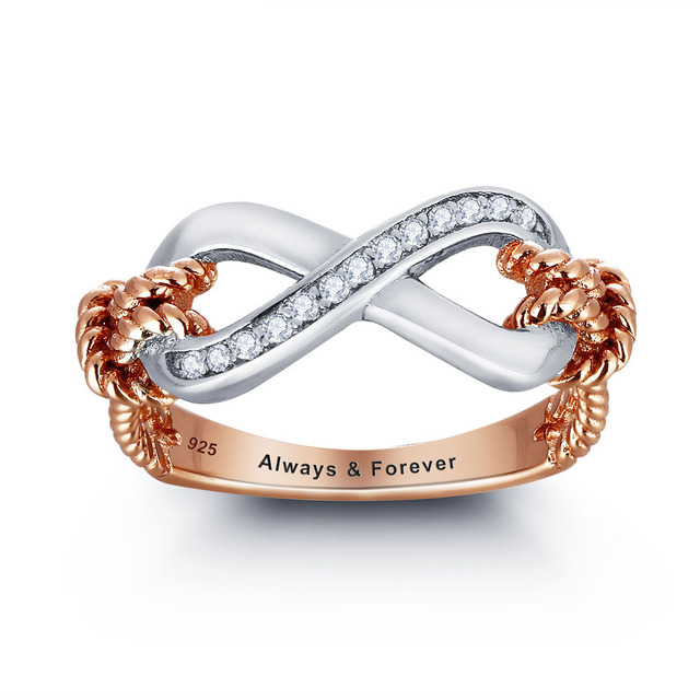 014933c857 Personalized Ring 925 Sterling Silver Infinity 8 Shape Love Promise  Valentine's Day Gift Free Gift Box (Silveren SI1795)