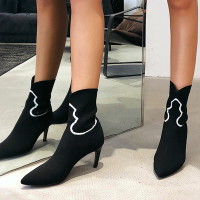 Thin Heels Stiletto Knitting Women Boots Slip on Sexy Runway Shoes Woman Solid Dress Sort Booties Party Zapatos De Mujer Botas