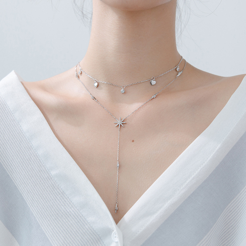 Modian Hot Sale Real 925 Sterling Silver Clear Sparkling CZ Stars Necklace Charm Fashion Hearts Pendant For Women Silver Jewelry