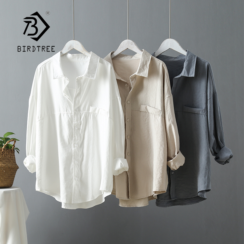 New Arrival Women Solid Oversize White Blouse Batwing Sleeve Pockets Long Shirt Turn-Down Collar Casual Top T96605F