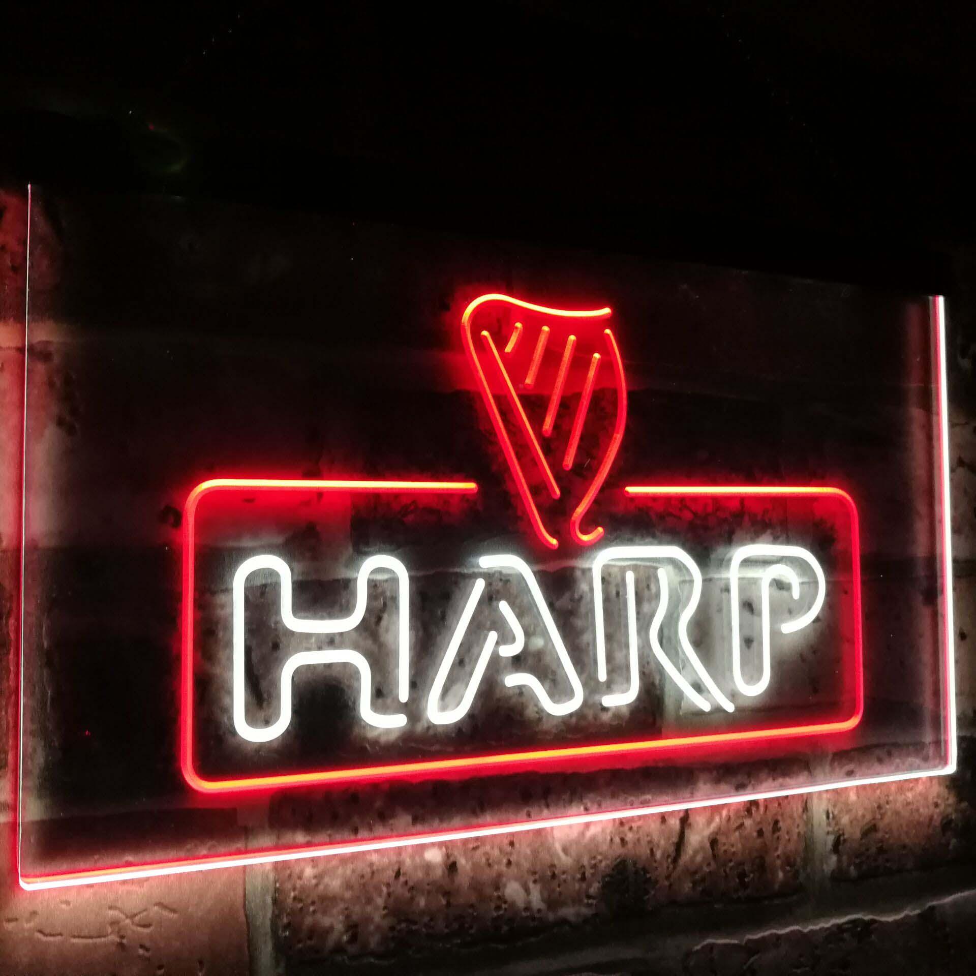Le cadeau de décoration de barre de bière de harpe double couleur a mené des signes de lumière au néon st6-a2001