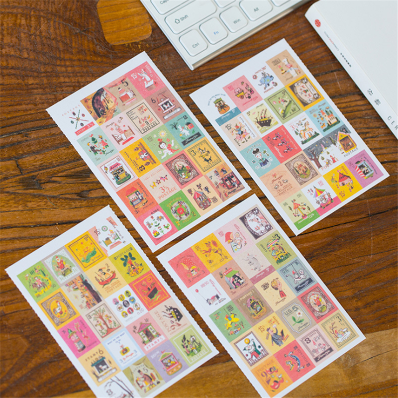 4sheets/lot  New paper cartoon style stamp deco Sticker Index Label mini paper sticker decoration DIY diary  seal sticker