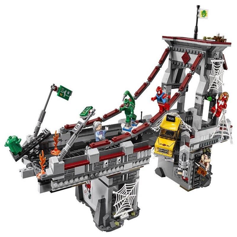 LEPIN 07038 Super Heroes Spider Man Web Guerrieri Ultimate Ponte Battaglia Figura Blocchi Mattoni Giocattoli Per I Bambini Compatibile Legoe