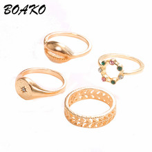 4 Pcs/set Boho Ring Set 2019 Fashion Jewelry Hollow Compass Rhinestone Shell Wedding Punk Gold Knuckle Rings Party Gift