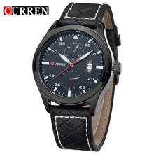 CURREN Fashion Casual Style Leather Strap Luxury Brand Men Sports Watches Stainless Steel Case Analog Quartz