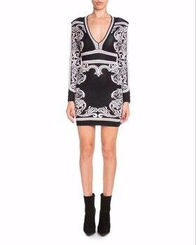 TOP QUALITY Jacquard HL Bandage Dress Long Sleeve Sexy Bodycon Mini Dress Elegant Evening Party Dress