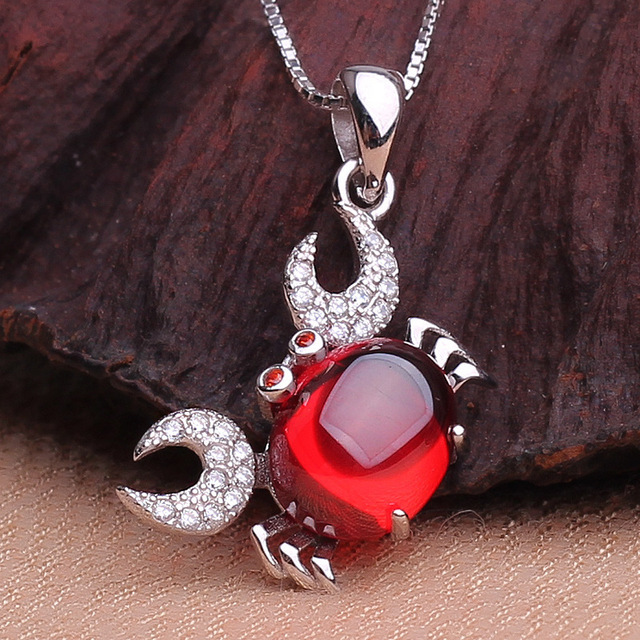 Brand new 925 silver crab pendant necklace with box chain micro studded garnet necklaces & pendants