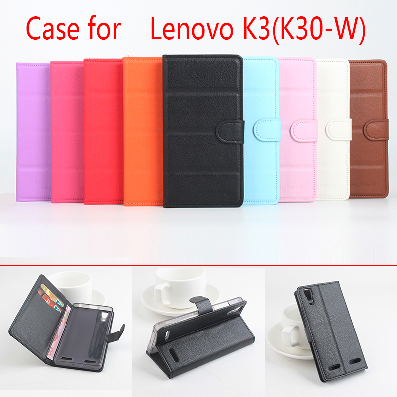 For Lenovo k3/k30w Phone Case Folio Flip Pure Color Lichee Pattern PU Leather Wallet Case Cover Cash/Card Slots sanheng