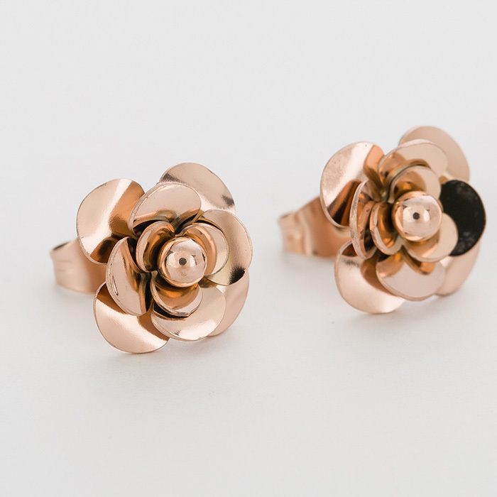 Fashion Women Earrings 316LStainless Steel Rose Gold Flower Stud Earrings 4