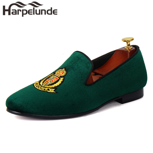 566d90de391 Harpelunde European Men Shoes Green Velvet Slippers Handmade Flat Loafers  Size 6 14-in Formal Shoes from Shoes on Aliexpress.com