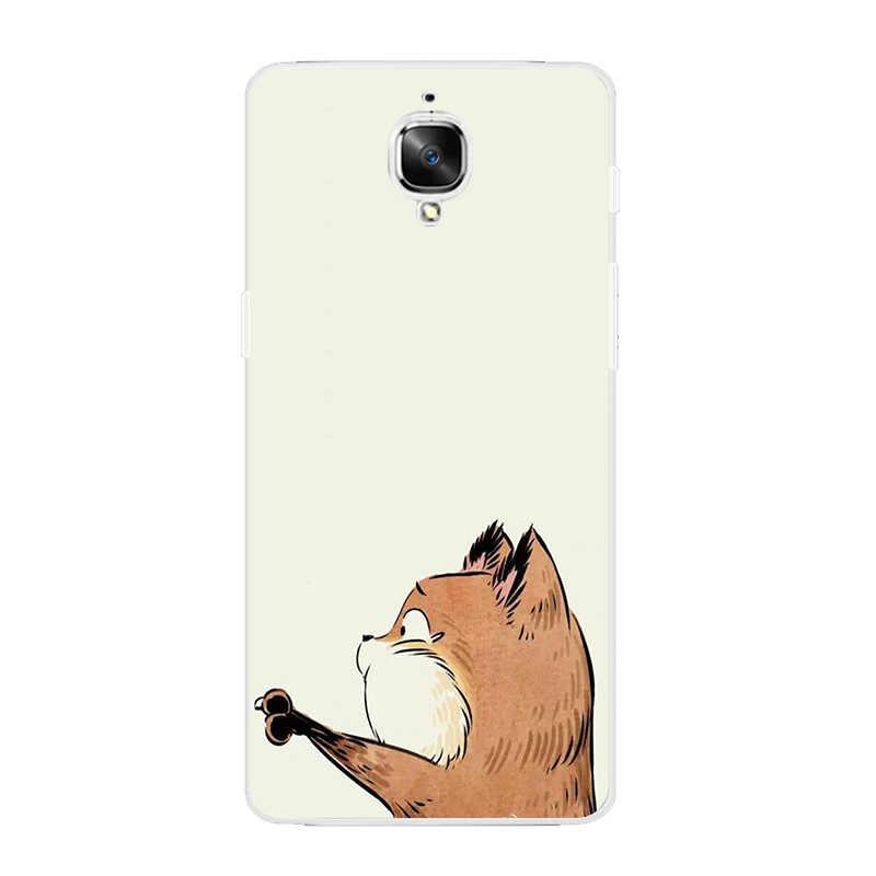 """OnePlus 2 için telefon kılıfı bir artı 3 kapak akıllı telefon 5.5 """"inç Ultra ince şeffaf kabuk yumuşak silikon susam tilki desen cilt"""