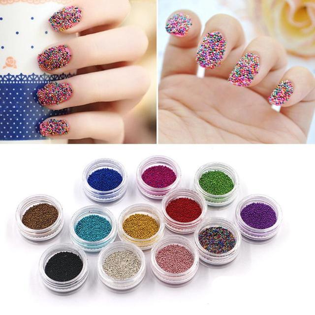 2018 DIY 12 Colors Mini Bean Fashion Nail art Micro Beads Pearl Nail ...